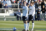 07 December 2008: Notre Dame's Courtney Barg (17) and Kerri Hanks (2) wait to start the game. The University of North Carolina Tar Heels defeated the Notre Dame Fighting Irish 2-1 at WakeMed Soccer Park in Cary, NC in the championship game of the 2008 NCAA Division I Women's College Cup.