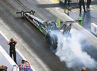 Sep 17, 2016; Concord, NC, USA; NHRA top fuel driver Clay Millican during qualifying for the Carolina Nationals at zMax Dragway. Mandatory Credit: Mark J. Rebilas-USA TODAY Sports