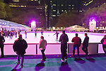 Manhattan, New York, U.S. 9th November 2013. Visitors ice skate and shop at the annual Holiday Shops, at Winter Village skating rink at Bryant Park that night.