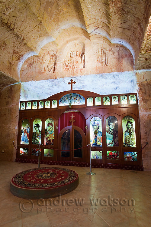 The Serbian Orthodox Church - one of five underground churches in the opal mining town of Coober Pedy, South Australia, AUSTRALIA.