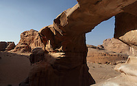 Natural sandstone Arch Burdah Rock Bridge, Wadi Rum Protected Area (WRPA), Wadi Rum National Park, also known as The Valley of the Moon, 74,000-hectare, UNESCO World Heritage Site, desert landscape, southern Jordan, Middle East. Picture by Manuel Cohen