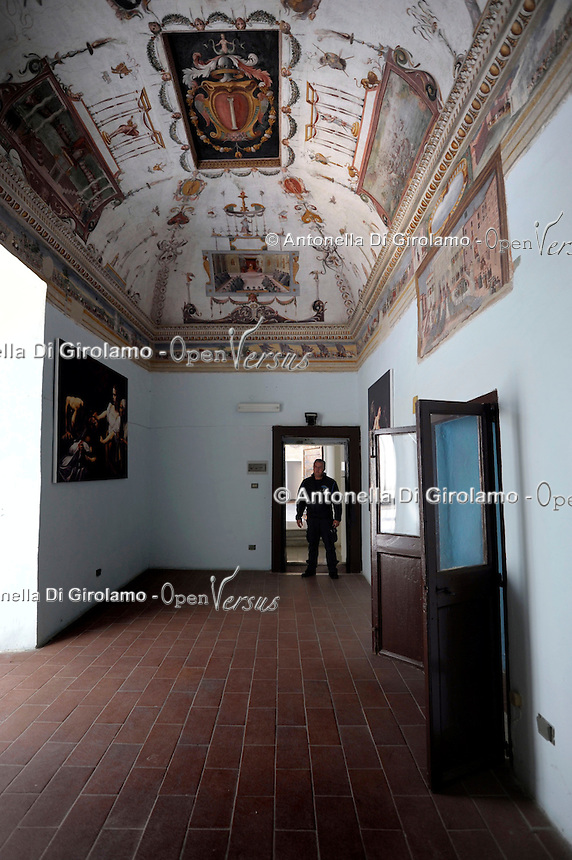 Carcere di Paliano, dove sono reclusi i collaboratori di giustizia.Sala del Capitano con gli affreschi della battaglia di Lepanto..Captain's room with the frescoes of the battle of Lepanto.