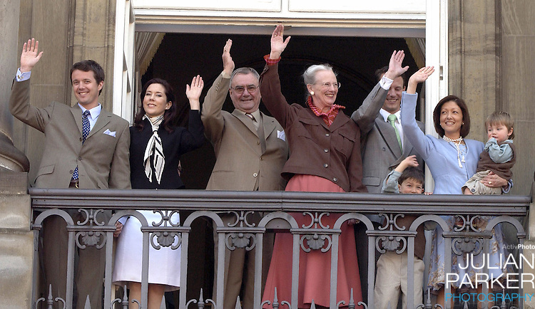 The Danish Royal Family appear on the balcony of The Amalienborg Palace in Copenhagen to celebrate The Queen of Denmark's 64th birthday..