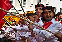 MayDay's Character - 2011<br /> <br /> London, 01/05/2011. Around 10,000 people marched in central London to celebrate the International Workers Day. The rally ended in Trafalgar Square where Tony Benn (former Labour cabinet minister) and other speakers gave speeches in defence of workers rights, in protest against the coalition Government spending cuts, and in support of calls for a general strike.
