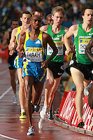 Mo Farah take second place in the 3000m race losing to Bernard Lagat at the Aviva London Grand Prix, Crystal Palace, London