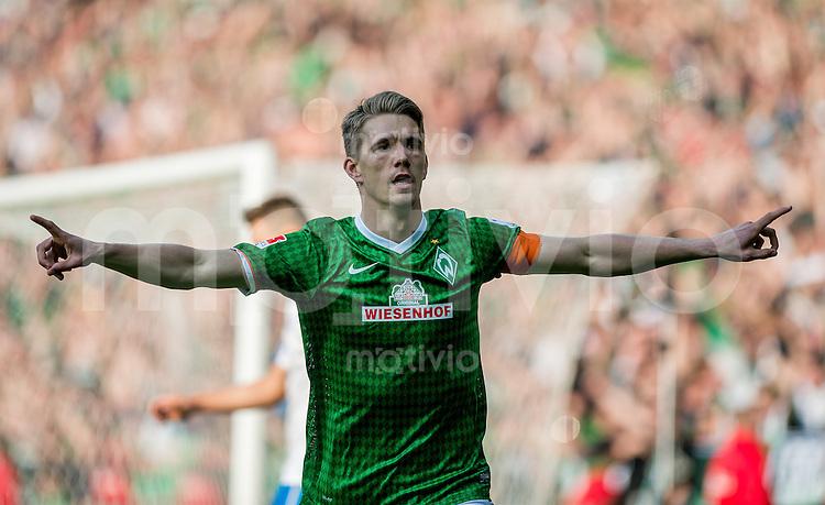 FUSSBALL   1. BUNDESLIGA   SAISON 2013/2014   31. SPIELTAG SV Werder Bremen - 1899 Hoffenhein                   19.04.2014 Nils Petersen (SV Werder Bremen) bejubelt seinen Treffer zum 3:1