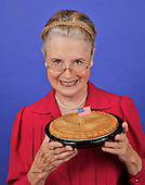 Grandmother with her  apple pie stock photo