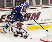 Terrence Wallin (UML - 9), Michael Matheson (BC - 5) - The University of Massachusetts Lowell River Hawks defeated the Boston College Eagles 4-2 (EN) on Tuesday, February 26, 2013, at Kelley Rink in Conte Forum in Chestnut Hill, Massachusetts.