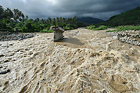 Bridge destroyed by a flooding river, Gorontalo, Sulawesi, Indonesia.