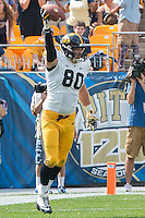Iowa tight end Henry Krieger Coble (80) celebrates his 13-yard touchdown reception. Iowa Hawkeyes defeated the Pitt Panthers 24-20 at Heinz Field, Pittsburgh Pennsylvania on September 20, 2014.