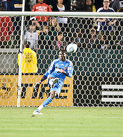 CARSON, CA – April 2, 2011: LA Galaxy goalie Donovan Ricketts (1) kicks the ball back into play during the match between LA Galaxy and Philadelphia Union at the Home Depot Center, March 26, 2011 in Carson, California. Final score LA Galaxy 1, Philadelphia Union 0.