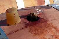 Bung hole with stopper and sampling pipette. Chateau Lapeyronie, Cotes de Castillon, Bordeaux, France