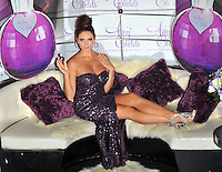 Amy Childs.Launches her debut fragrance 'Amy Childs' at Aura London, England..August 15th, 2012.full length purple strapless sequins sequined dress slit split sitting silver sandals shoes     .CAP/CJ.©Chris Joseph/Capital Pictures.