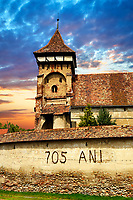 The Fortified Saxon Evangelical church of Valea Viilor. A Gothic church built in 1414 with a three layered defensive tower. Sibiu, Transylvania. A World Heritage Site