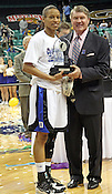 Jasmine Thomas is named the Tournament MVP. This was the Championship game of the 2011 ACC Tournament in Greensboro on March 6, 2011. Duke beat UNC 81-66. (Photo by Al Drago)