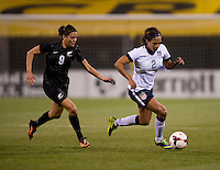 Sydney Leroux (2) of the USWNT sprints away from Amber Hearn (9) of New Zealand during an international friendly at Crew Stadium in Columbus, OH. The USWNT tied New Zealand, 1-1.