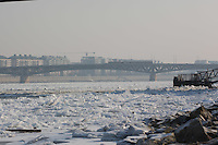 Ice blocks float on river Danube in Budapest, Hungary on January 10, 2017. ATTILA VOLGYI