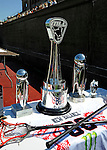 24 August 2008: The Championship Trophies lie ready prior to the Championship Game of the Major League Lacrosse Championship Weekend between the Denver Outlaws and the Rochester Rattlers at Harvard Stadium in Boston, MA. The Rattles took control of the second half to defeat the Outlaws 16-6 and take the league honor for the 2008 season...Mandatory Photo Credit: Ed Wolfstein Photo