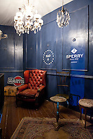 Entrance through to the underground speakeasy bar, The Barber Shop, Rome, Italy