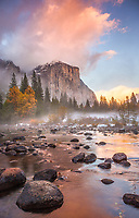 Yosemite National Park, CA: Sunset clouds illuminates El Capitan (7042 ft) and the Merced River in late fall