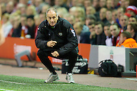 LIVERPOOL, ENGLAND - Thursday, October 4, 2012: Udinese Calcio's head coach Francesco Guidolin during the UEFA Europa League Group A match against Liverpool at Anfield. (Pic by David Rawcliffe/Propaganda)