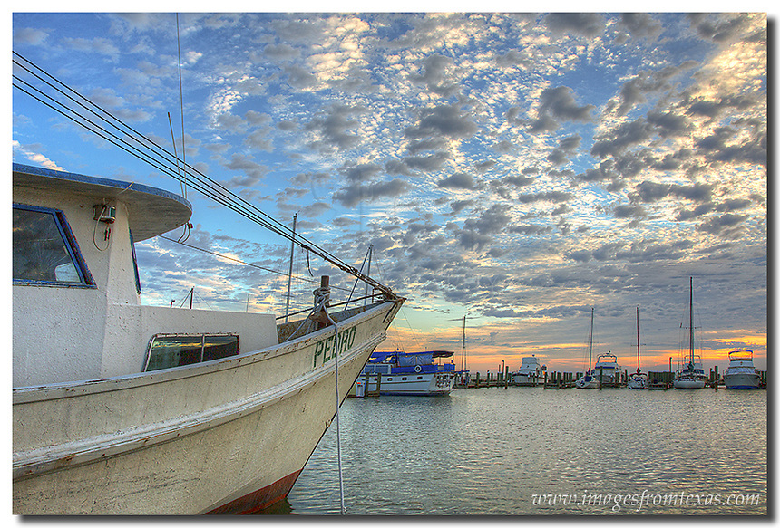 Morning light begins to warm the harbor at Rockport, Texas, along the Gulf Coast on cool, October morning. I was blessed with great light for several mornings as I spent some time along the Texas coast shooting images of boats, gulls, and the morning life of this little town.