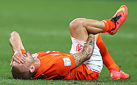 Wesley Sneijder of Netherlands shows a look of dejection