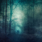 Man going towards a light tunnel in a forest. <br />