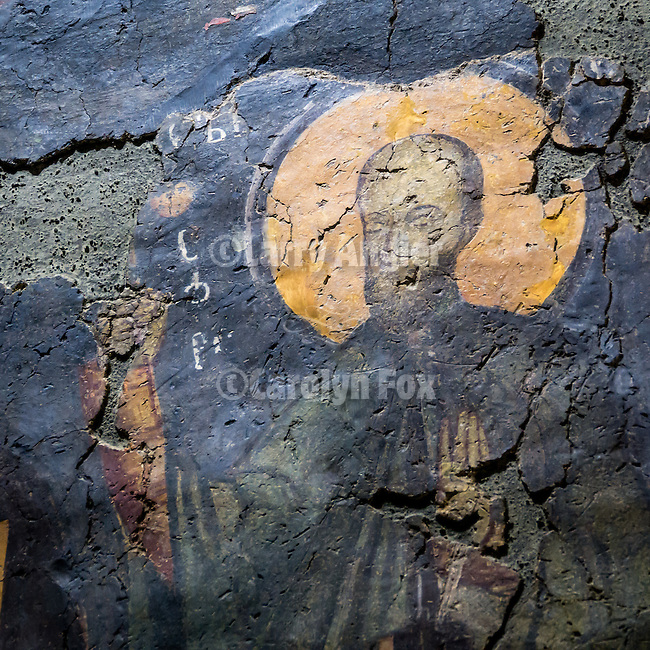 Ancient frescoes, Church of the 40 Martyrs of Sebaste, constructed in 1230 and the place of repose (death) of St. Sava in 1236.<br /> <br /> Veliko Tarnovo, Bulgaria