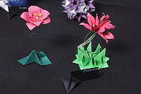 OrigamiUSA 2014 exhibition. Floral modular origami creations designed and folded by Isa Klein, Brazil.