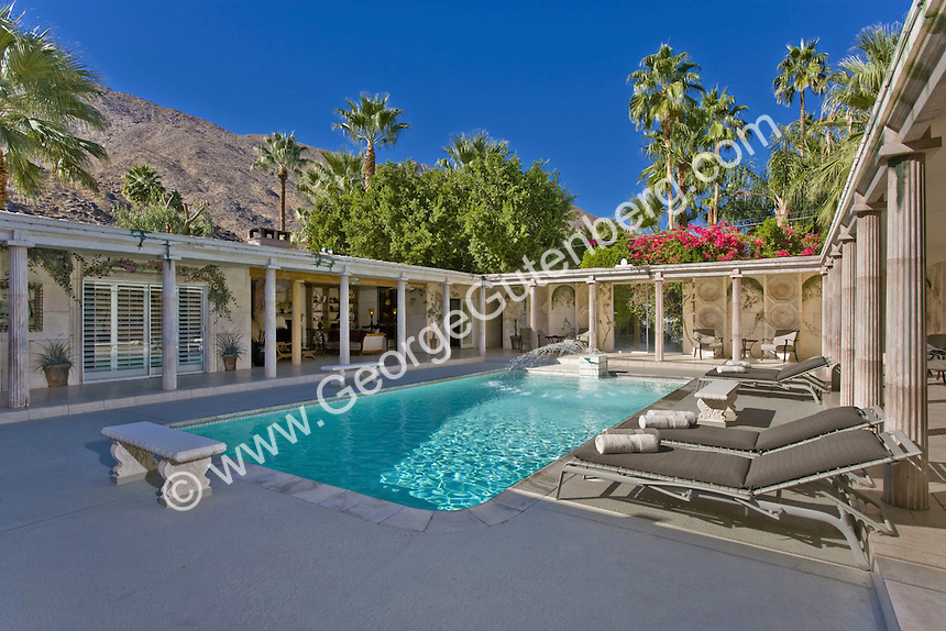Stock photo of swimming pool inside courtyard | Stock ...