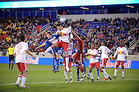 Dax McCarty (13) of FC Dallas anf Juan Pablo Angel (9) of the New York Red Bulls go up for a header. The New York Red Bulls defeated FC Dallas 2-1 during a Major League Soccer (MLS) match at Red Bull Arena in Harrison, NJ, on April 17, 2010.