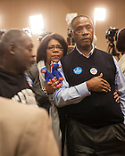Cynthia and Hank Mattocks, of Angier, watch returns at the State Democratic Party in Raleigh, North Carolina, Election Day, November 6, 2012. .North Carolina Election Day, November 6, 2012. .