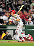29 September 2010: Philadelphia Phillies' infielder Mike Sweeney hits a home run against the Washington Nationals at Nationals Park in Washington, DC. The Phillies defeated the Nationals 7-1 to take the rubber game of their 3-game series. Mandatory Credit: Ed Wolfstein Photo