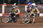 Heat 15 re-run: Peter Karlsson (yellow), Freddie Lindgren (white) and Adam Shields (blue) - Lakeside Hammers vs Wolverhampton Wolves - Elite League Speedway at Arena Essex Raceway - 16/05/11 - MANDATORY CREDIT: Gavin Ellis/TGSPHOTO - Self billing applies where appropriate - Tel: 0845 094 6026