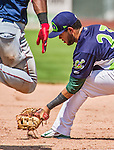 8 July 2014: Vermont Lake Monsters infielder Gabriel Santana in action against the Lowell Spinners at Centennial Field in Burlington, Vermont. The Lake Monsters rallied with two runs in the 9th to defeat the Spinners 5-4 in NY Penn League action. Mandatory Credit: Ed Wolfstein Photo *** RAW Image File Available ****