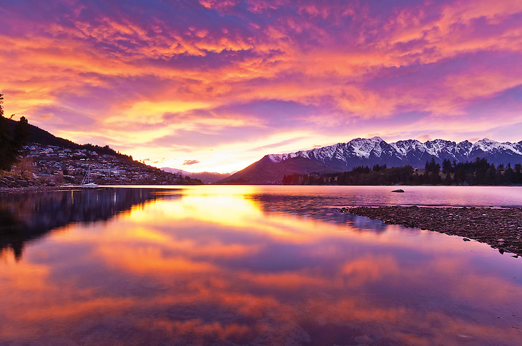 Sunrise over the Remarkables mountains reflected in Lake Wakatipu, Central Otago, South Island, New Zealand - stock photo, canvas, fine art print