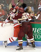Sean Escobedo (BU - 21), Bill Arnold (BC - 24) - The visiting Boston College Eagles defeated the Boston University Terriers 3-2 to sweep their Hockey East series on Friday, January 21, 2011, at Agganis Arena in Boston, Massachusetts.