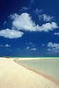 Marshall Islands, Micronesia: sandy beach, blue sky, white puffy clouds and clear lagoon water at village of Laura on Majuro Atoll.