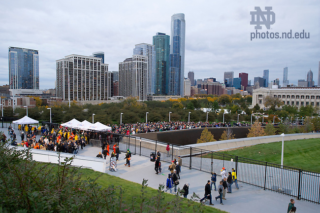Oct. 6, 2012; Fans enter Soldier Field for the Notre Dame match up with Miami in the Shamrock Series in Chicago. Photo by Barbara Johnston/University of Notre Dame..