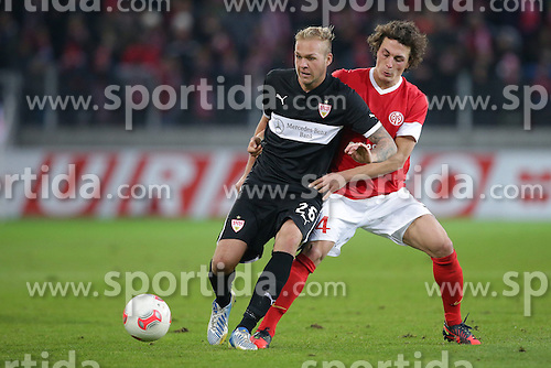 15.12.2012, Coface Arena, Mainz, GER, 1. FBL, 1. FSV Mainz 05 vs VfB Stuttgart, 17. Runde, im Bild Raphael HOLZHAUSER (VfB Stuttgart - 26) - Julian BAUMGARTLINGER (FSV Mainz 05 - 14) // during the German Bundesliga 17th round match between 1. FSV Mainz 05 and VfB Stuttgart at the Coface Arena, Mainz, Germany on 2012/12/15. EXPA Pictures © 2012, PhotoCredit: EXPA/ Eibner/ Gerry Schmit..***** ATTENTION - OUT OF GER *****