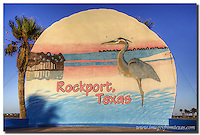 Greetings from Rockport, Texas. This huge sign in the shape of huge oyster shell at the entrance of Rockport Beach greets visitors. Along the Texas Gulf coast, there are many fun towns to visit. Rockport is just one of the many destinations on this scenic route.