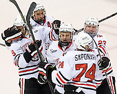 Garrett Vermeersch (NU - 9), Ludwig Karlsson (NU - 45), Dax Lauwers (NU - 44), Vinny Saponari (NU - 74), Colton Saucerman (NU - 23) - The Northeastern University Huskies defeated the visiting Merrimack College Warriors 4-2 (EN) on Wednesday, October 10, 2012, at Matthews Arena in Boston, Massachusetts.