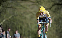 Tom Van Asbroeck (BEL/LottoNL-Jumbo) is one of the last riders over he Kemmelberg after he crashed heavily on his back just earlier.<br /> He wanted to continue the race, but was forced to abandon later on.<br /> <br /> 3 Days of West-Flanders 2015<br /> stage 2: Nieuwpoort - Ichtegem 184km