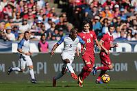 San Diego, CA - Sunday January 29, 2017: Darlington Nagbe, Sasa Jovanovic during an international friendly between the men's national teams of the United States (USA) and Serbia (SRB) at Qualcomm Stadium.