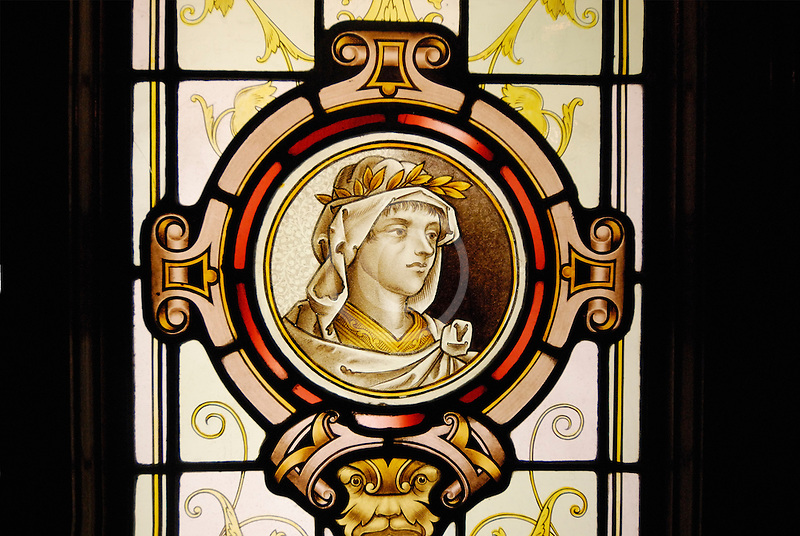 Canada, Montreal, Auberge Saint Gabriel, stained glass