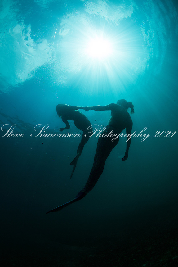 Blue water mermaid couple <br />