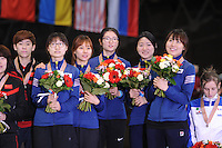 "SHORT TRACK: MOSCOW: Speed Skating Centre ""Krylatskoe"", 15-03-2015, ISU World Short Track Speed Skating Championships 2015, Podium Relay Ladies, KOREA, ©photo Martin de Jong"