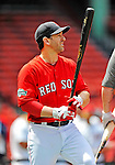 9 June 2012: Boston Red Sox infielder Nick Punto awaits his turn in the batting cage prior to a game against the Washington Nationals at Fenway Park in Boston, MA. The Nationals defeated the Red Sox 4-2 in the second game of their 3-game series. Mandatory Credit: Ed Wolfstein Photo