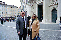 Roma 15 marzo 2013.Montecitorio l'arrivo dei parlamentari alla Camera dei Deputati per l' inizio della XVII legislatura..Roberto Caon della Lega Nord con la moglie